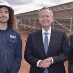 Opposition leader Bill Shorten visits SSE Whyalla Solar Farm